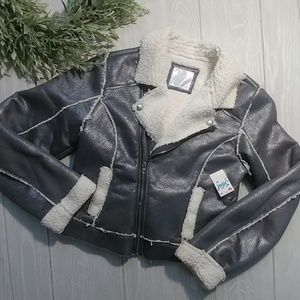 Justice NWT silver sherpa lined coat